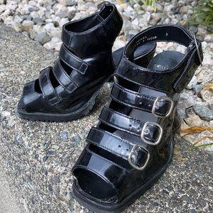John Fluevog Electra patent leather high sandals